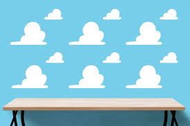Toy Story Clouds Template Wall Clouds Big And Small Toy Story Wall Decal Andys Etsy