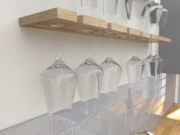 single depth floating oak wine glass rack