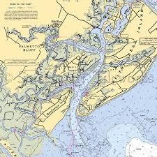 Charleston Nautical Chart South Carolina Palmetto Bluff Nautical Chart Decor