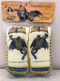 Batman Toastee Slipper Socks Vintage 1978 Super Friends Dc Comics Still Sealed Never Opened Very Scarce Item L K