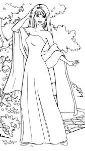 Barbie Doll Wear Gown And Scarf Coloring Page Coloring Barbie