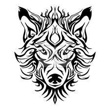 Fototapeta Vlk Tvář Hlava Nebo Vlk Tvář Design Pro Kmenové Tetování Stylu