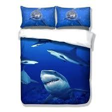 marine bedding set big shark animal bedding set print marine fish duvet cover set twin full