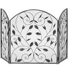 best choice s 3 panel steel metal mesh fireplace screen w rustic worn finish