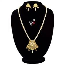 pearl necklace sets beautiful pearl necklace set in white thewa pendant with palki design