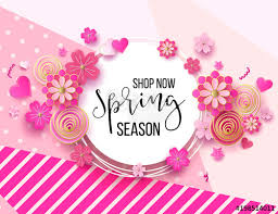 Spring Season Sale Offer, Banner Template. Pink Ribbon With ...