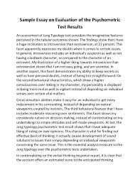 sample essay on evaluation of the psychometric test results sample essay on evaluation of the psychometric test results an assessment of jung typology test considers