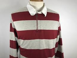 nautica long sleeve polo rugby shirt red gray striped mens 100 cotton xl size