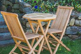 2 seater solid teak octagonal 60cm folding garden table chair set