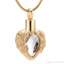whole gold heart memorial urn pendant multi colour birthstone inlay feather cremation necklace ash locket for human pet funeral memorial djx8719 anchor