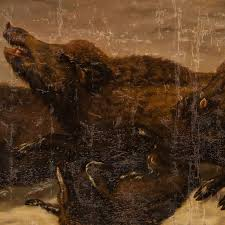 italian giant oil painting of wild boar hunting for