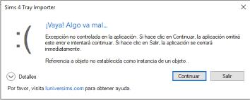 Exception error message - Aide - LuniverSims