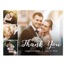 wedding thank you cards zazzle Wedding Thank You Cards No Pictures overlapped photos wedding thank you card postcard wedding thank you cards photo
