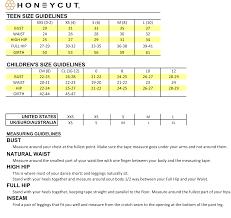 Honey Punch Size Chart Size Chart Honeycut