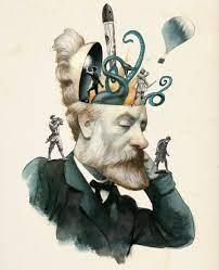 Julio Verne #julioverne #Fernandovicente #yomequedoencasa | Arte cerebro,  Ilustración del cerebro, Julio verne