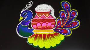 Simple Peacock Pongal pot Kolam 2021 ...