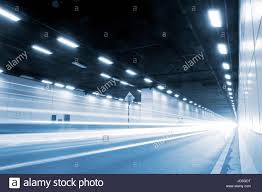 How Is Lighting Formed The Tunnel At Night The Lights Formed A Line Stock Photo