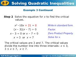holt mcdougal algebra 2 2 7 solving quadratic inequalities example 3 continued write in standard