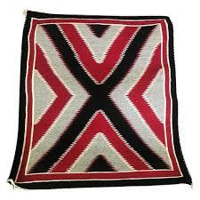 native american navajo handwoven red grey black x pattern rug blanket for