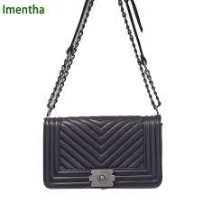 big V texture handbag quilted chain bag black Women Bags pochette ... & big V texture handbag quilted chain bag black Women Bags pochette sac femme  Women Shoulder Bags Adamdwight.com