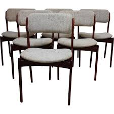 6 vine dining chairs in rosewood model 49 designed by erik buch denmark