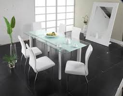 modern glass kitchen table. Interesting Kitchen Modern Glass Kitchen Table In Fresh Dining Room Brilliant Sets Top With And  Steel Legs White Chairs Sleek Tables