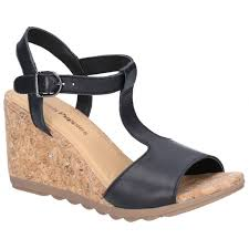 hush puppies pekingese tstrap las leather wedge sandals black shuperb
