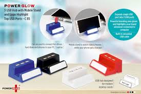 Office Logo Gifts Power Glow Usb Hub With Mobile Stand And Logo Highlight