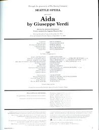 1992/93 Aida Program   Seattle Opera - 50th Anniversary