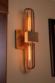 lighting wood. Wood Lighting. Rebar And Barn Sconce/vanity Light Fixture In Rubbed Red Finish Lighting