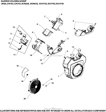 Blower housing group 6 24 502 ech630 749 on kohler twin 17 engine parts