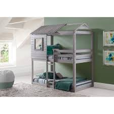 kids bunk bed. Donco Kids Loft-Style Light Grey Twin Over Bunk Bed L