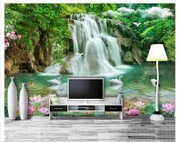 High Fresco Wallpapers Three Dimensional Landscape Waterfall Landscape 3d Tv Backdrop Wall Papel De Parede 3d Behang