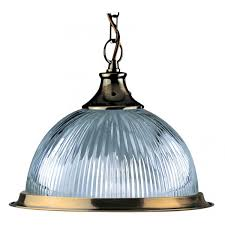american diner antique brass finish pendant with clear ribbed translucent glass diffuser and matching metal trim