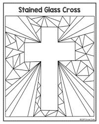 Easter Coloring Pages Stained Glass Cross By Dovie Funk Tpt