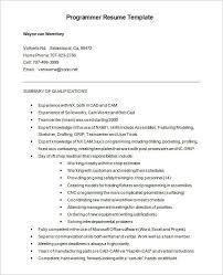 Free CNC Programmer Resume Word Format Download