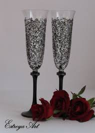 Wedding Hand Painted Flutes Wedding Glasses Painted Lace Glasses