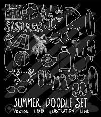 Set Of Summer Illustration Hand Drawn Doodle Sketch Line Vector