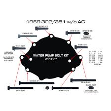 amk mustang water pump bolt boss 302 w o ac 302 351w 1969 water pump bolt boss 302 out air conditioning 302 351w 1969