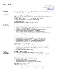 Resume Letter English Sle Resume For A Teacher Position Preschool It
