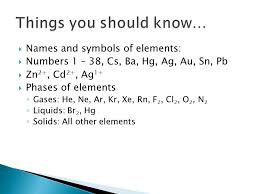 The Science of Change 1.  Names of rows in the Periodic Table ...