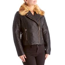 marc new york women faux leather moto jacket with removable faux fur collar a warmer jacket