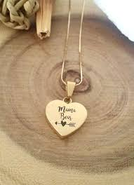 personalized gold heart necklace mothers day jewelry gift engraved