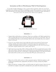How To Write A Resume When You Have No Experience Cover Letter How To Write A Resume Without Work Experience With No 6