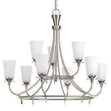 progress lighting cantata brushed nickel nine light two tier chandelier