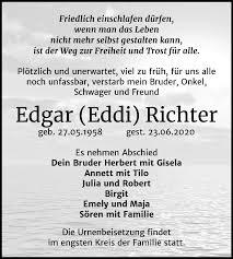 Traueranzeigen von Edgar Richter   www.abschied-nehmen.de