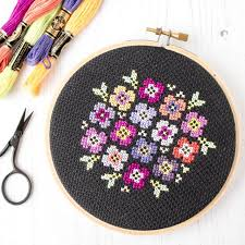 Free Cross Stitch Charts For Beginners Free Cross Stitch Pattern Pansy Bouquet On Black Stitched