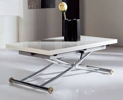 transforming table in steel legs white gloss paint