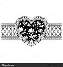 Mehndi Květinový Vzor Formě Srdce Hranice Pro Kreslení Hennou