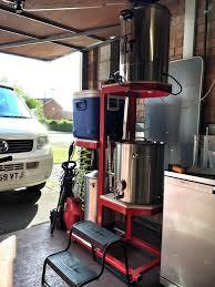 homebrew stand in garage brewery